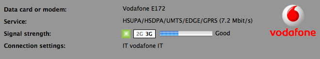 vodafone Internet Key: connection, signal strength